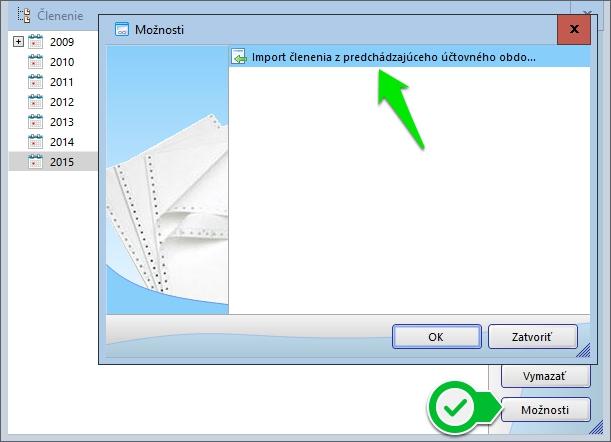 obr.: import členenia z predchádzajúceho obdobia | menu Firma/Členenie