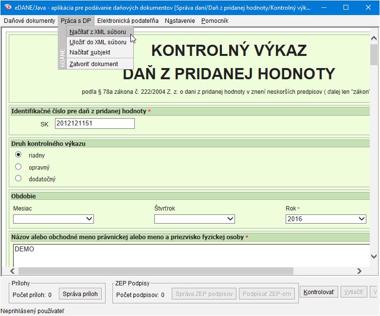 Obr.: Import XML súboru do eDane