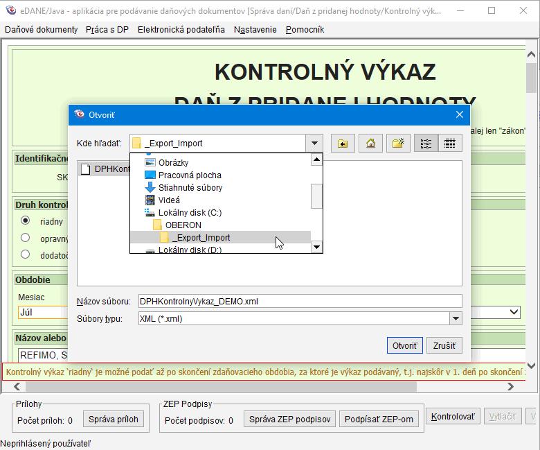 Obr.: Cesta k XML súboru