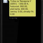 Denná uzávierka prijatá formou SMS správy (modul Pokladnica OBERON)